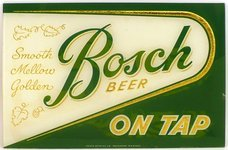 Bosch Beer reverse-painted glass.