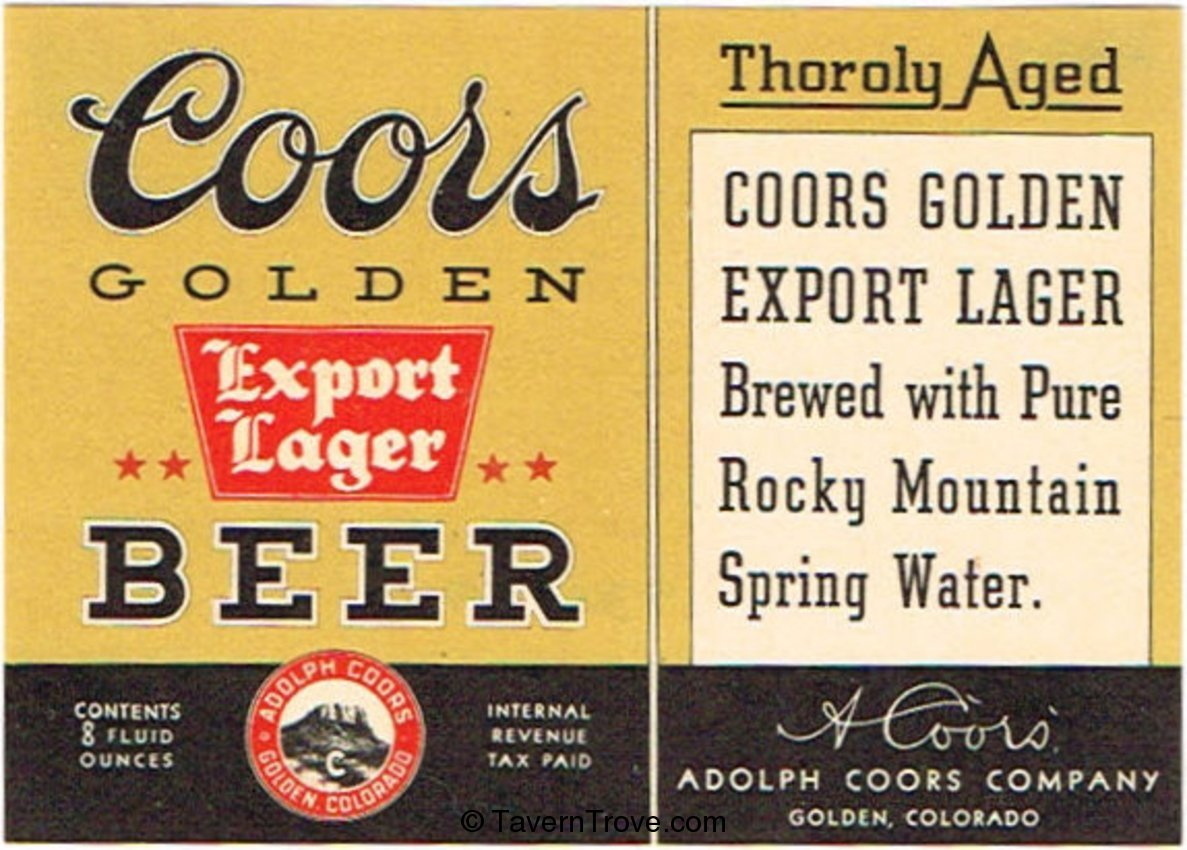 Coors Golden Export Lager Beer