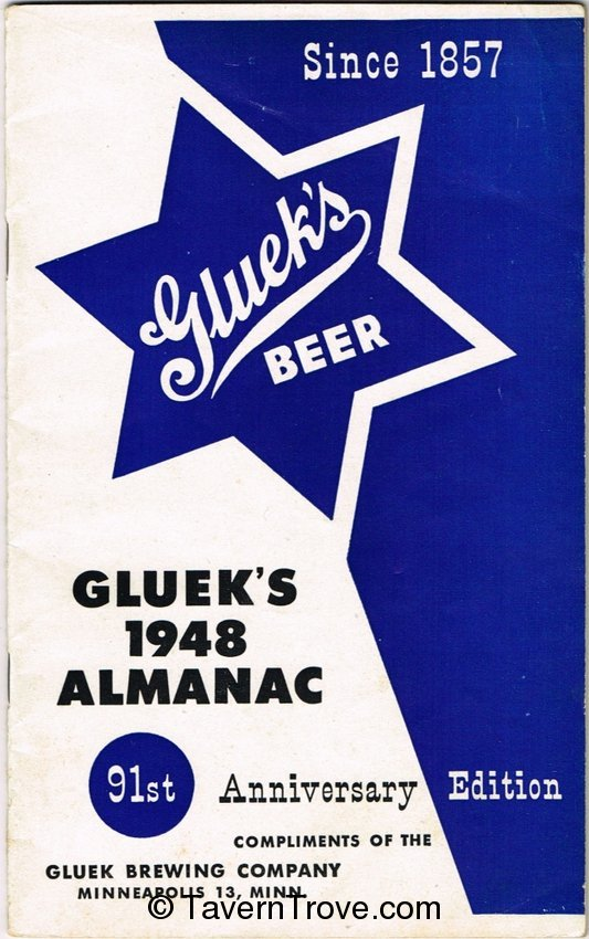 Gluek Beer 1948 Almanac