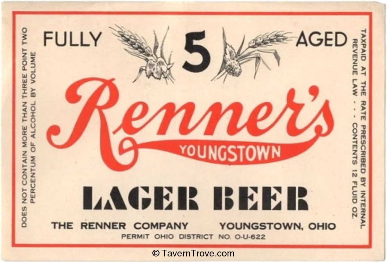 Renner's Youngstown Lager Beer
