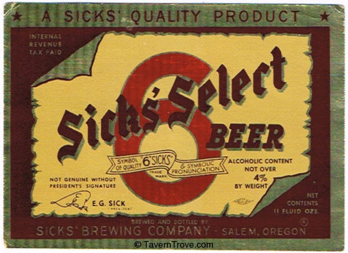 Sick's Select Beer